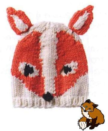Digital Download PDF Vintage Knitting Pattern Child's Fox Hat/Beanie