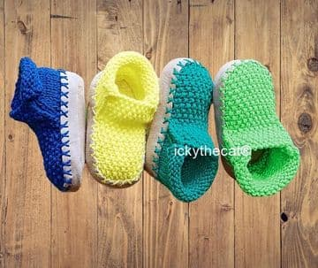 Digital Download PDF Vintage Knitting Pattern Childrens Shoes Slippers 2-12 years