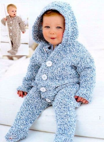 Digital Download PDF Vintage Knitting Pattern Chunky Baby Toddlers All-In-One Hooded Suit