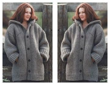 "Digital Download PDF Vintage Knitting Pattern Chunky Wool Hooded Jacket Pockets Large Size 46"" - 66"""