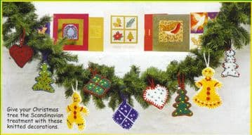 Digital Download PDF Vintage Knitting Pattern Hanging Xmas Christmas Tree Decorations Ornaments.