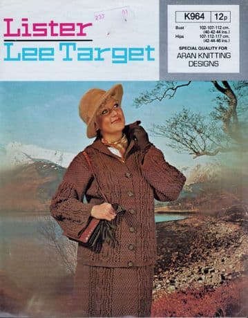 Digital Download PDF Vintage Knitting Pattern Ladies Lister Lee Target K964 Aran Cable Jacket Skirt