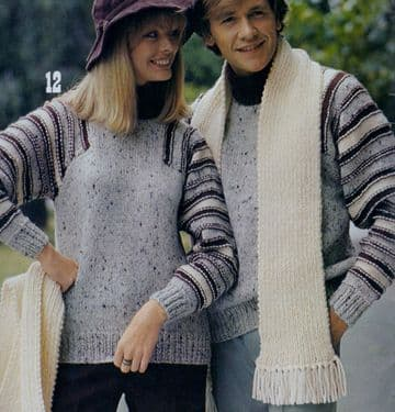 Digital Download PDF Vintage Knitting Pattern Ladies Men's Chunky Sweater Jumper Scarf 34-42''