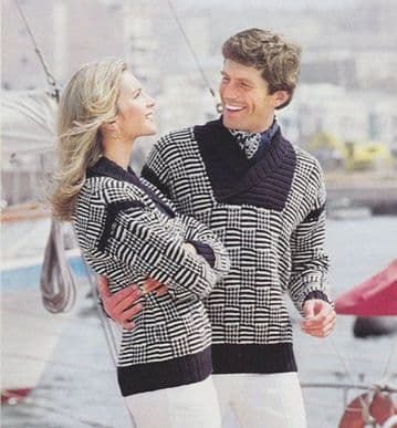 Digital Download PDF Vintage Knitting Pattern Ladies Men's His & Her Aran Sailing Sweaters Jumpers
