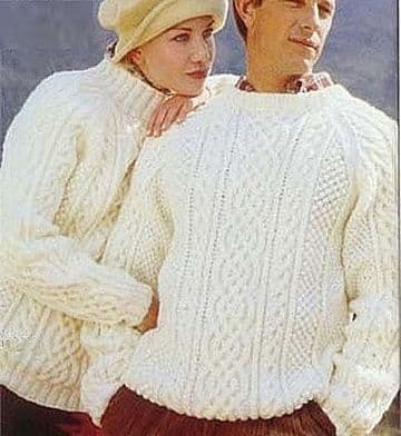 Digital Download PDF Vintage Knitting Pattern Ladies Mens ​​​​​​​Aran Cable Sweater Jumper 34-44