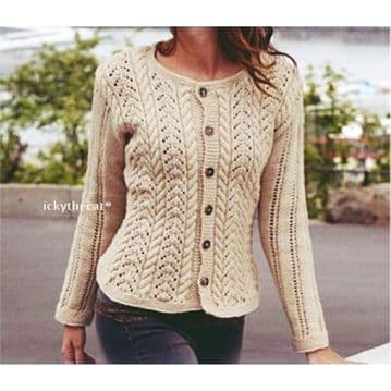 Digital Download PDF Vintage Knitting Pattern Ladies Sweater/Cardigan/Jacket Small - XXXL
