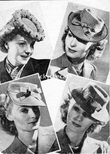 Digital Download PDF Vintage Knitting Pattern Ladies Women's 1940s Ladies Women's 4 Knitted Hats 40'