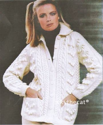 Digital Download PDF Vintage Knitting Pattern Ladies Women's Aran Cable Cardigan Jacket 40-50''