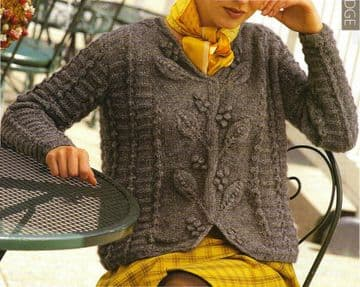 Digital Download PDF Vintage Knitting Pattern Ladies Women's Aran Cable ​​​​​​Sweater Jumper S-XXL