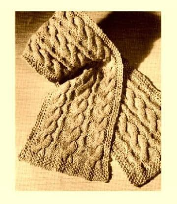 Digital Download PDF Vintage Knitting Pattern Ladies Women's Aran Style Reverse Cable Scarf