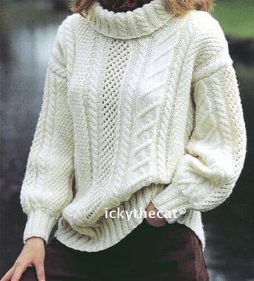 Digital Download PDF Vintage Knitting Pattern Ladies Women's  Aran SWEATER JUMPER 30-40''