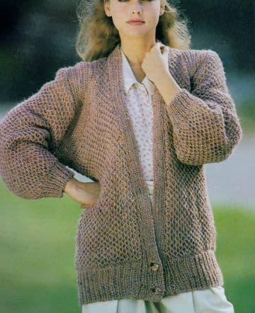 Digital Download PDF Vintage Knitting Pattern Ladies Women's Brioche Stitch Cardigan/Jacket 34-44''