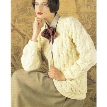 Digital Download PDF Vintage Knitting Pattern Ladies Women's Cable Aran Cardigan/Jacket 34 - 44''