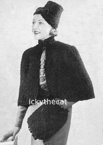 Digital Download PDF Vintage Knitting Pattern Ladies Women's Cape and Hat and Muff