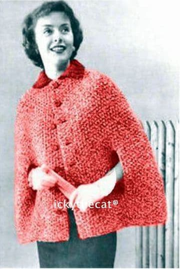 Digital Download PDF Vintage Knitting Pattern Ladies Women's Cape/Capelet/Cloak w/ Collar & Buttons