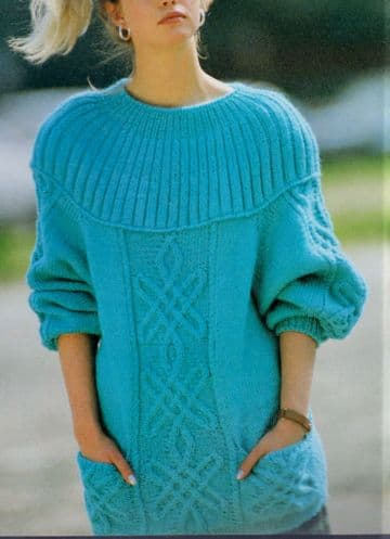 Digital Download PDF Vintage Knitting Pattern Ladies Women's Daisy Cable Sweater Jumper 32-36'' DK