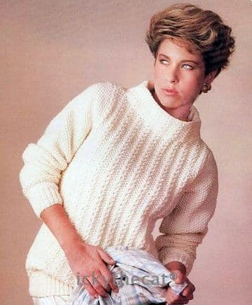 Digital Download PDF Vintage Knitting Pattern Ladies Women's Easy Aran Sweater Pullover 28-38