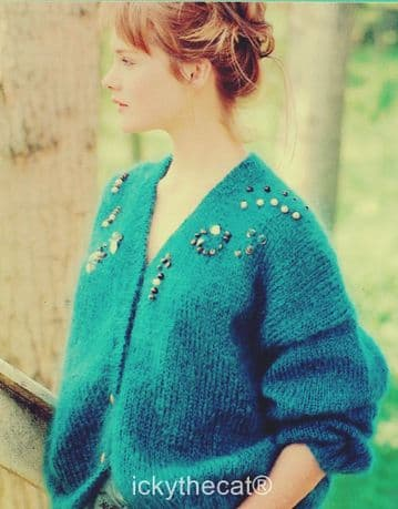 Digital Download PDF Vintage Knitting Pattern Ladies Women's Easy Mohair Cardigan Jacket
