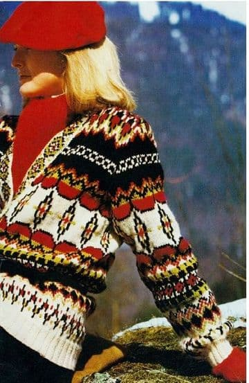 Digital Download PDF Vintage Knitting Pattern Ladies Women's Fair Isle Low Buttoning Cardigan Jacket