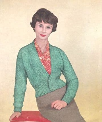 Digital Download PDF Vintage Knitting Pattern Ladies Women's Fitted Cardigan 34,36,38'' DK / 8 ply