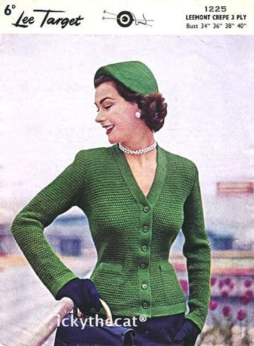 DIGITAL DOWNLOAD PDF VINTAGE KNITTING PATTERN LADIES WOMEN'S FITTED CARDIGAN 34-40'' 3 PLY