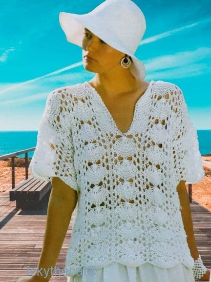 Digital Download PDF Vintage Knitting Pattern Ladies Women's Quick Short Sleeve Lacy Sea Shell Top
