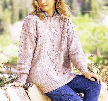 Digital Download PDF Vintage Knitting Pattern Ladies Women's Richly Cabled Sweater Jumper 30-44'' DK