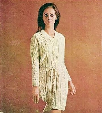 Digital Download PDF Vintage Knitting Pattern Ladies Women's Robin 1946 Ladies Aran Dress 34-38''
