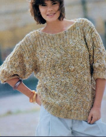 Digital Download PDF Vintage Knitting Pattern Ladies Women's Scoop Neck Sweater Jumper 4 ply 32-38''