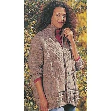 Digital Download PDF Vintage Knitting Pattern Ladies Women's Tree of Life Aran Style Cardigan Jacket