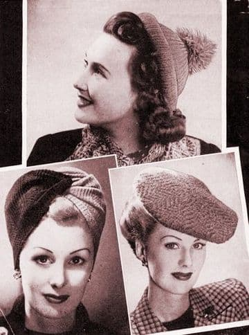 Digital Download PDF Vintage Knitting Pattern Ladies Women's Turban, Hat & Beret Vintage 3 ply/4 ply