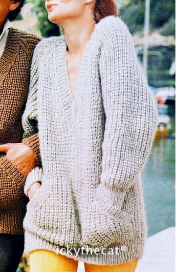 "Digital Download PDF Vintage Knitting Pattern Ladies Women's V Neck Sweater w/ Pockets 34""-42"""