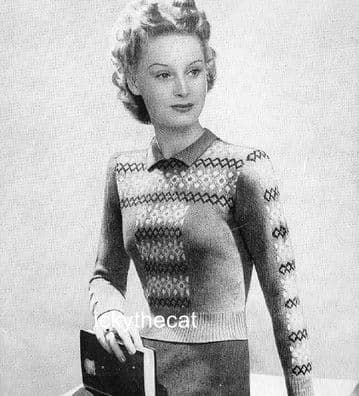 Digital Download PDF Vintage Knitting Pattern Ladies Women's w/ Fair Isle Yoke