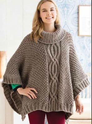 Digital Download PDF Vintage Knitting Pattern Ladies Women's Woman's Cabled Chunky Poncho One Size