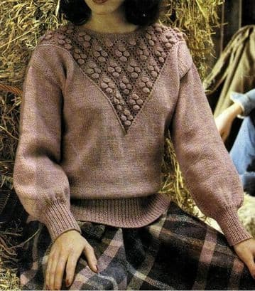 Digital Download PDF Vintage Knitting Pattern Ladies  Womens ​​​​​​​Yoke Sweater Jumper