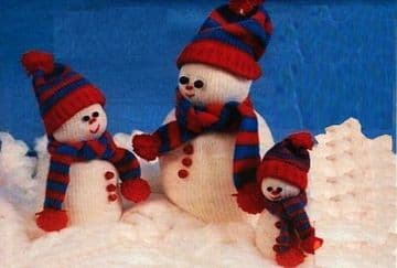 Digital Download PDF Vintage Knitting Pattern Plush Soft Toy Doll Snowman Snowmen Dolls Toys