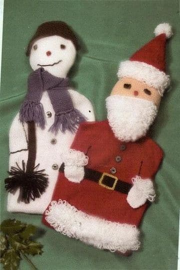 Digital Download PDF Vintage Knitting Pattern Snowman & Santa Claus Hot Water Bottle Covers