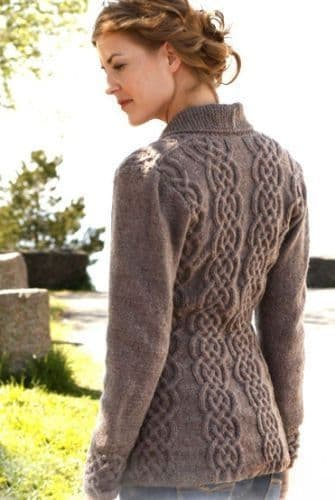 "Digital Download PDF Vintage Knitting Pattern Women's Celtic Cardigan Cables/Shawl Collar 36""-50"""