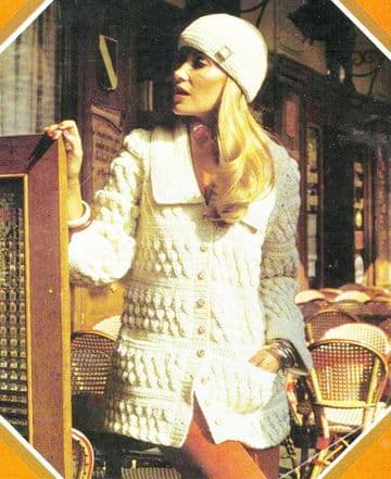 Digital Download PDF Vintage Knitting Pattern Women's French Style Aran Jacket Cardigan & Hat 32-38""