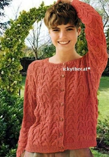 Digital Download PDF Vintage Knitting Pattern Women's Ladies Aran Style Arched Cable Cardigan 81-96