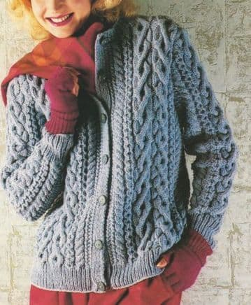 "Digital Download PDF Vintage Knitting Pattern Women's Ladies Cabled Aran Jacket/Cardigan 32""-42"""