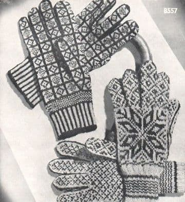 Digital Download PDF Vintage Knitting Pattern Women's Ladies Fair Isle Sanquhar & Norwegian Gloves