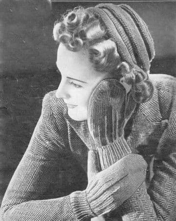 Digital Download PDF Vintage Knitting Pattern Women's Ladies Hat Mittens & Scarf 4 ply Average Sizes