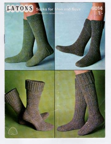 Digital Download PDF Vintage Knitting Pattern Women's Ladies Men & Boys Socks