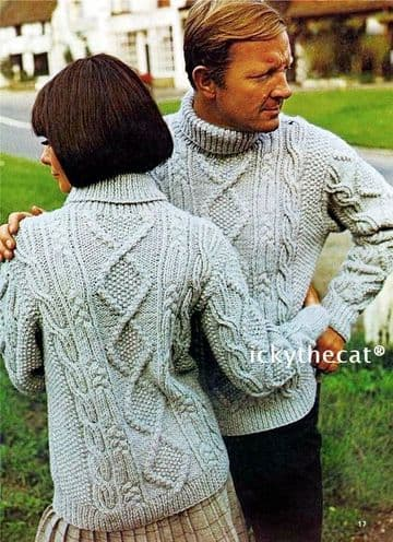 Digital Download PDF Vintage Knitting Pattern Women's Ladies Mens Aran Cable Sweater Jumper