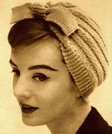 Digital Download PDF Vintage Knitting Pattern Women's Ladies Neat Cap/Hat w/ Bow DK