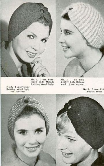 Digital Download PDF Vintage Knitting Pattern Women's Ladies Turbans Hats 8 Styles