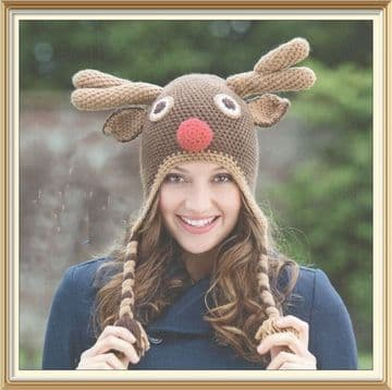 Digital Download PDF ​​​​​​​Vintage Pattern Crochet Pattern Reindeer Hat 53,56,58,61cm DK/8 Ply