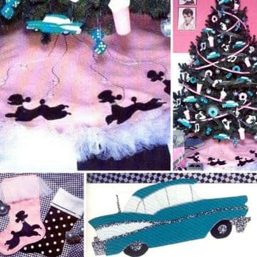 Digital Download PDF Vintage Sewing Pattern Rock Roll 50s Car, Poodle Tree Skirt Stocking Ornaments