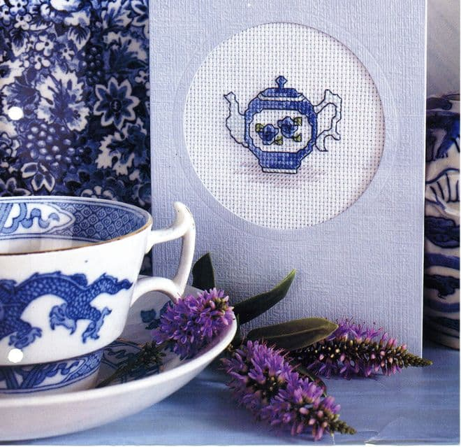 Digital PDF Cross Stitch Pattern Pretty Rose Teacup Motif for Cards or Picture